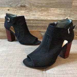 Unisa Black Peep Toe Heel Booties 8